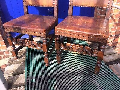 Pair Of Antique Carved Oak And Leather Hall Chairs, arts And Crafts.