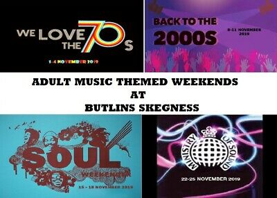 BUTLINS Skegness Adult Music Weekend 3 Night 70s* 2000s* Soul* Ministry of Sound