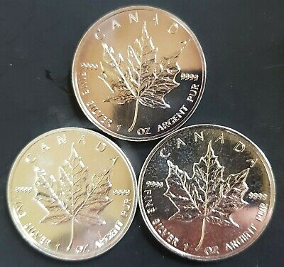 1996,1997,1988  Canadian Maple Leaf Silver Coins (3 x 1oz)  in New 2 x 2.....