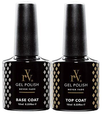 RYV Gel Nail Polish Top and Base Coat UV LED Soak Off 10ml Top Coat Base Coat