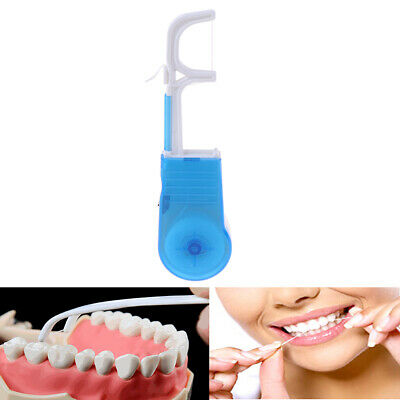 Blue portable clean high dental floss holder oral care tooth cleaner floss~PA