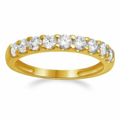 0.90 CT Round Cut 9-Stone Engagement Wedding Ring Band SOLID 14K Yellow Gold