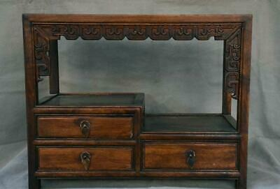 """16"""" Antique China Huanghuali Wood Inlay Gem Dynasty 3 drawer cabinet furniture"""