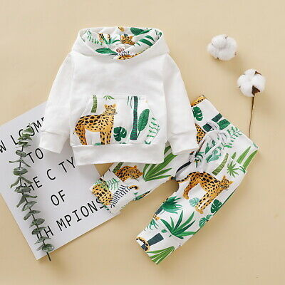 Newborn Baby Boys Girls Animal Hooded Tops Pants Leggings Outfits Set Clothes UK