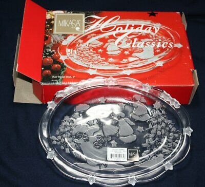 "Mikasa Holiday Classic Christmas Oval Sweet Candy Dish Angels Crystal 9"" Germany"