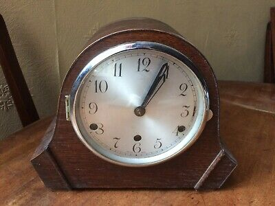 Antique Art Deco Oak Chiming Mantle Clock