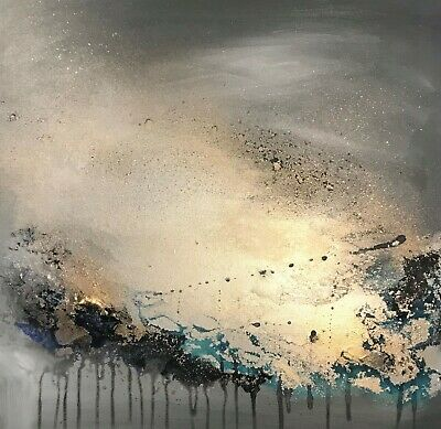 Stunning Abstract canvas wall art painting in greys, sparkly champagne & blue.