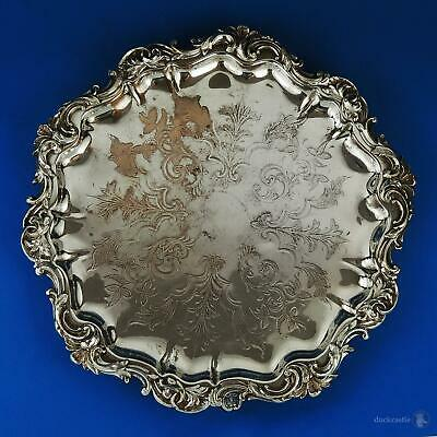 VICTORIAN OLD SHEFFIELD PLATE Footed SALVER / WAITER TRAY c1840 12 1/2 Inch