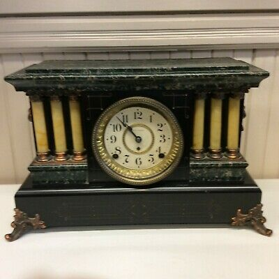Antique Seth Thomas Adamantine Faux Marble 6 Column Lion Head Mantle Clock(Afrt)