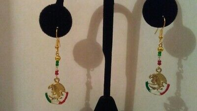 Mexican Flag Eagle Earring Brass Metal & Glass Beads Made in Mexico
