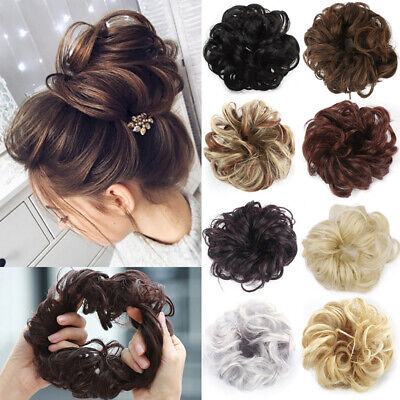 Wr_ Fake Hair Synthetic Fiber Curly Chignon Extension Bun Wig Hairpiece For Wome