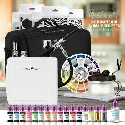 Airbrush Cake Decorating Kit machine 16 Food Colours, Bag, Pot - Paint a Cake UK