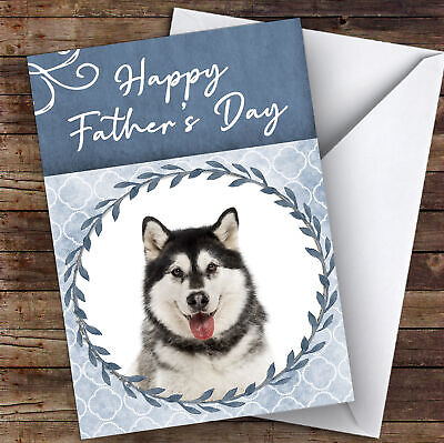 Alaskan Malamute Dog Traditional Animal Personalised Father's Day Card