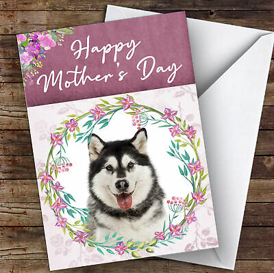Alaskan Malamute Dog Traditional Animal Personalised Mother's Day Card