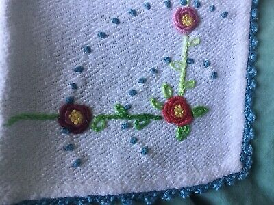 French Antique linen tablecloth, 6 napkins handmade Roses Rustic Off White Blue