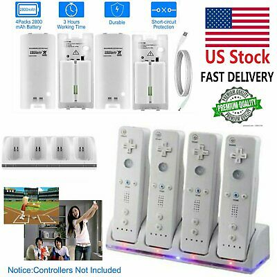 4x 2800mAH Battery Pack +Charging Dock Cradle For Nintendo Wii Remote Controller