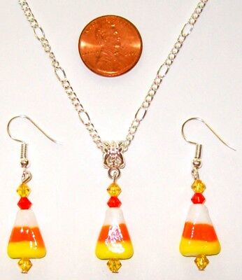 """Halloween/Autumn/Fall Necklace/ Earring Set-Candy Corn-Glass 24""""-Handcrafted#784"""
