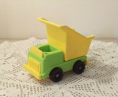 Vintage Fisher Price Little People Play Family Construction Green Dump Truck