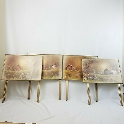Vtg mid century Andres Orpinas Dinner Folding Trays Country Barns Set of 4