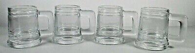 Set of Four Glass Shot Glasses with Handles Mini Beer Mugs