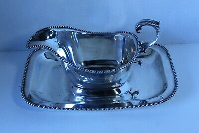 Antique American Beauty Silver PLated Gravy Boat and Plate