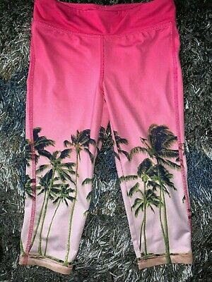 Girls Size Small 6-7 Gap Kids Pink Palm Trees Stretchy Capris Cropped Pants Beac