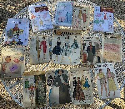 Vintage Mixed Lot of 14 Sewing Patterns 1950'Vogue,Butterick,Simplicity,McCall's