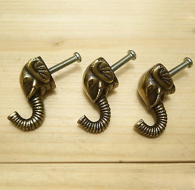 Lot of 3 pcs Solid Brass Vintage ELEPHANT HOOK Antique Coat Wall Mount Hooks