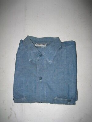 Vintage 1950s DUBBLE WARE Chambray Shirt Cat Eye Buttons Size 16 / LARGE