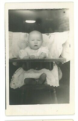 RPPC Portrait of a cute Baby in High Chair Real Photo Postcard