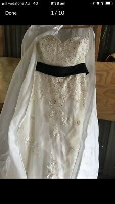 Vintage Style Wedding Gown Lace Bead Sweetheart Strapless Cizzy size 12
