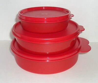 Tupperware Bowls Big Medium Little Wonders Lunch Box Containers Set 3 RED New