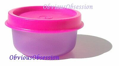 Tupperware Mini Bowl Smidgets Pill Box Smidget Sheer Purple Neon Pink Seal
