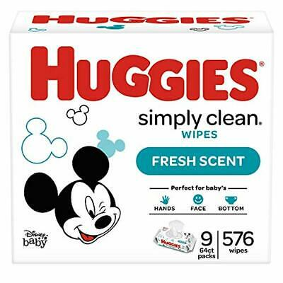 11 Soft Pack 576 Count HUGGIES Simply Clean Fragrance Free Baby Wipes Wet Wipe