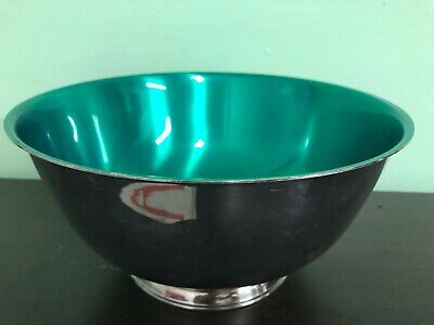 LARGE PAUL REVERE REPRODUCTION BOWL  Green SILVER W.M. ROGERS