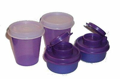 Tupperware Salt Pepper Shakers Set Mini Midget and 2 Smidgets Tiny Bowls Purple