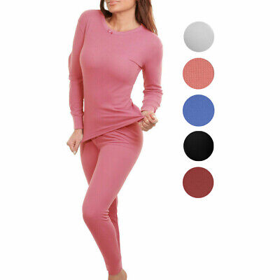 Women's Cotton Waffle Knit Thermal Underwear Stretch Shirt & Pants 2pc Set