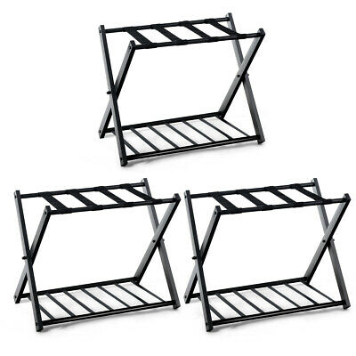 Set of 3 Folding Metal Luggage Rack Suitcase Shoe Holder Home Guestroom w/Shelf