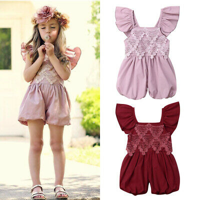 1-5Y Baby Kids Toddler Girl Ruffle Romper Lace Jumpsuit Outfits Clothes Bodysuit