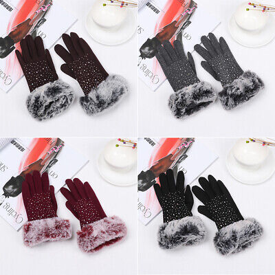 Rhinestone Windproof Cashmere Gloves Touch Screen Mittens Faux Fur Gloves Shiny