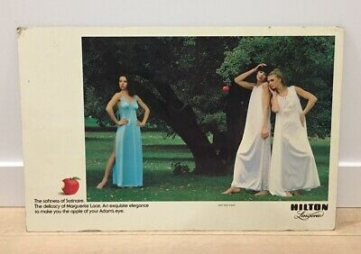 Old Hilton Lingerie Advertising Poster - Early 1970's - Large Original Vintage !