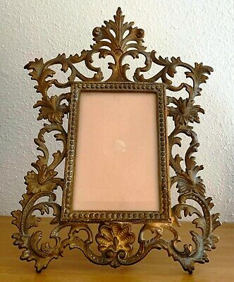 Antique Victorian Heavy Cast Iron Standing Picture Frame