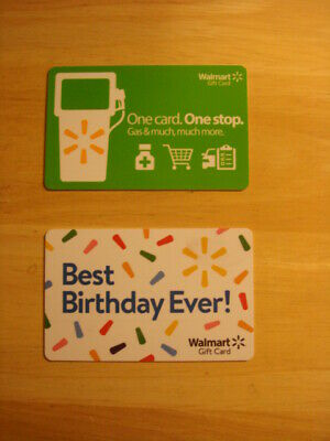 Walmart Used Collectible Gift Cards (2), NO VALUE