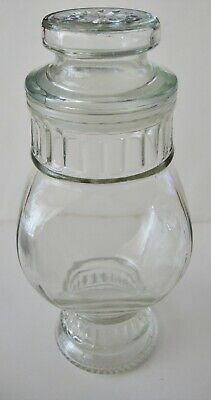 Vintage glass apothecary ribbed jar with stopper/Canada