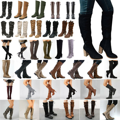 Women Thigh High Over The Knee Boots Long Stretch Party Lace Up Comfy Shoes Size