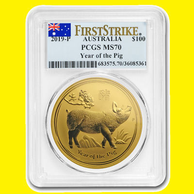 2019 Chinese Lunar Year of the pig PCGS MS 70 first strike AUSTRALIA 1 OZ GOLD