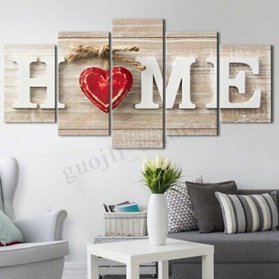 5Pcs Love Heart Canvas Print Painting Wall Art Picture Home Decor Unframed