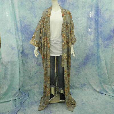 (74) Beautiful Japanese kimono made in Japan made of polyester 164cm 64.5inch