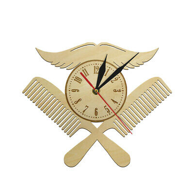 Moustache with Combs Barber Shop Logo Wood Wall Clock Hairdressing Salon Watch