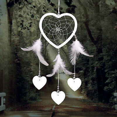 Handmade Heart Dream Catcher with Feather Wall Car Home Hanging Decor